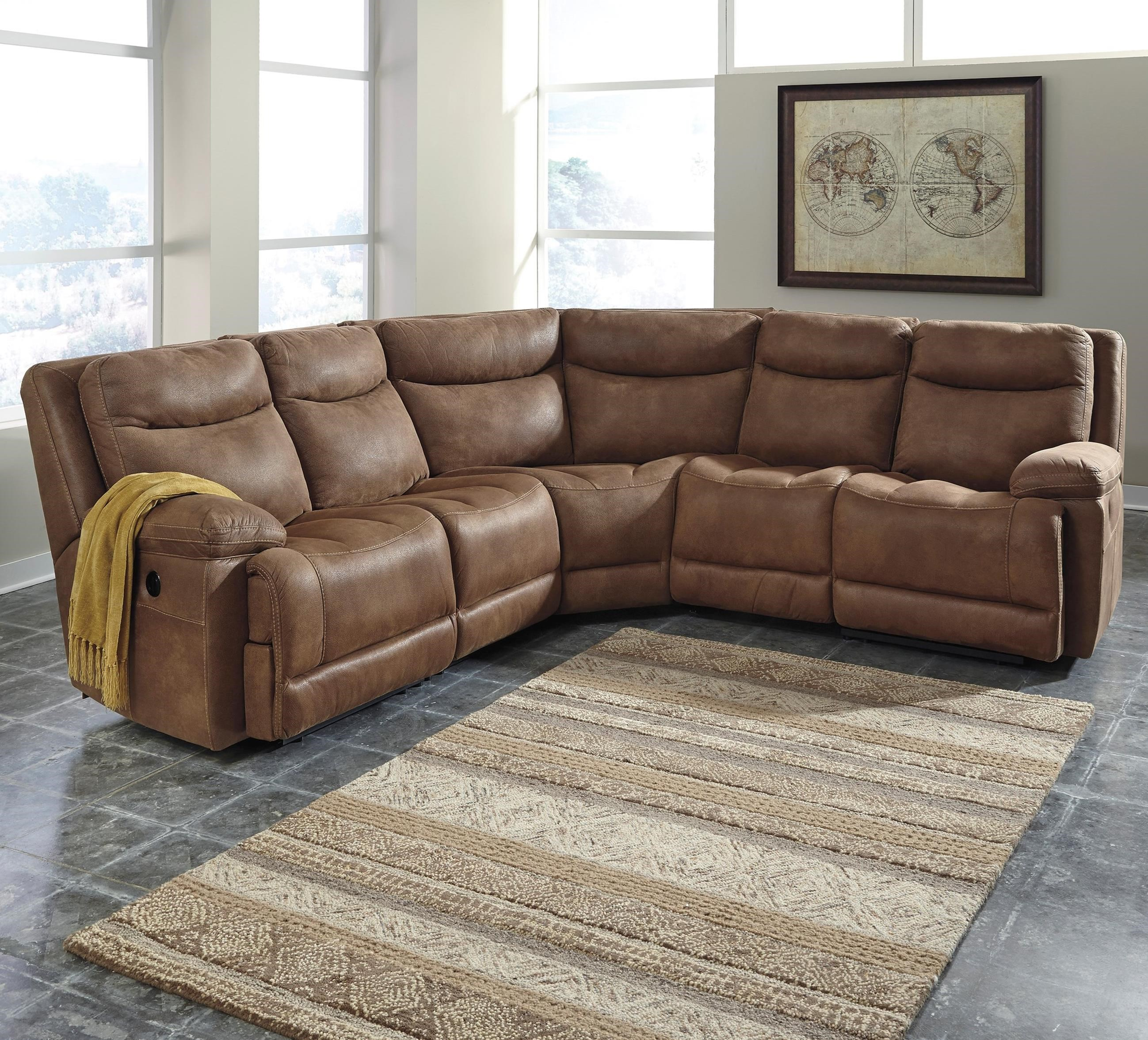 Reclining sectional st malo 6piece power reclining for Ashley encore grain chaise