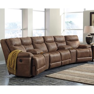 Power Reclining Sectional with Angled Consoles