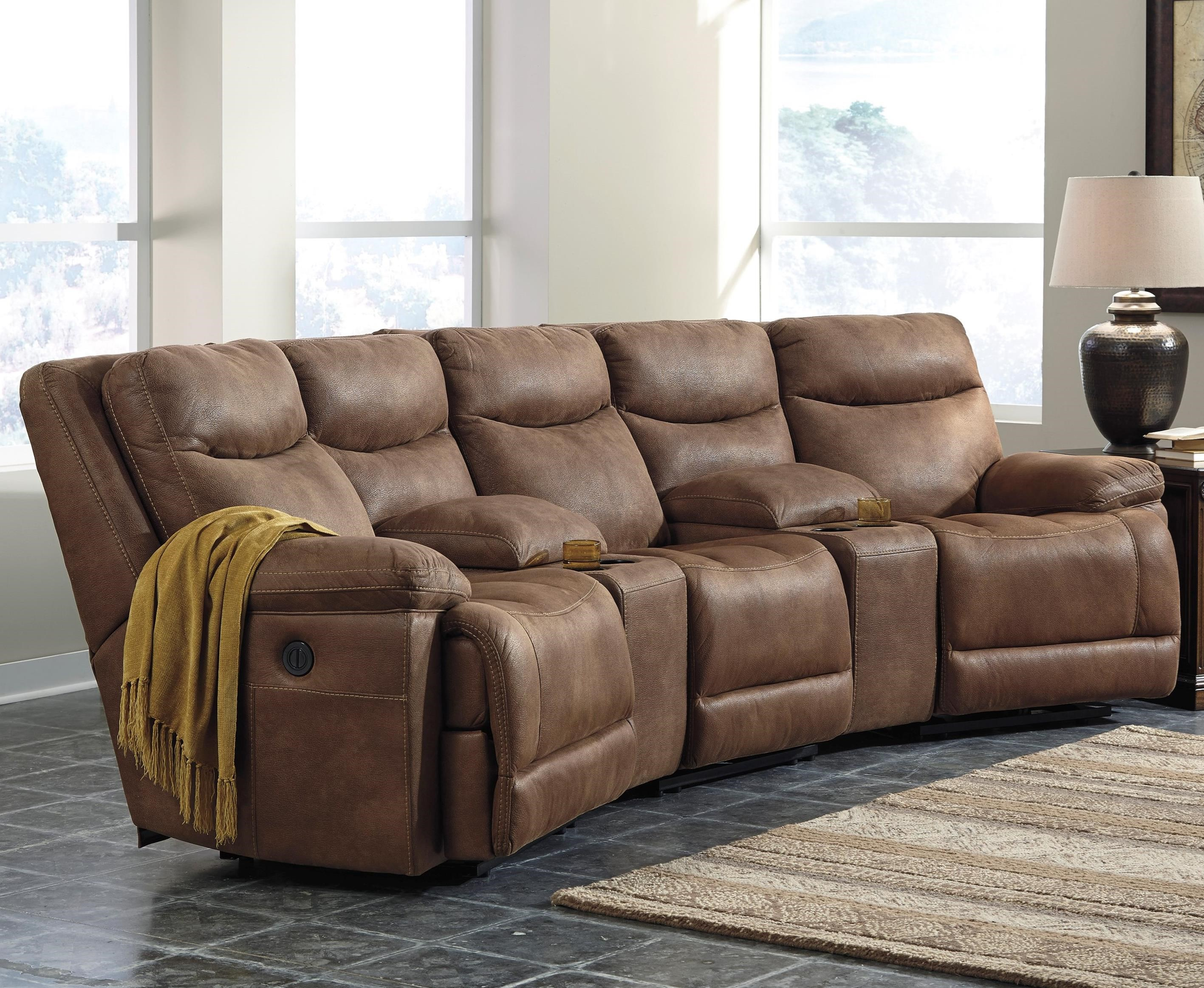 Power Reclining Sectional w Angled Consoles by Signature Design