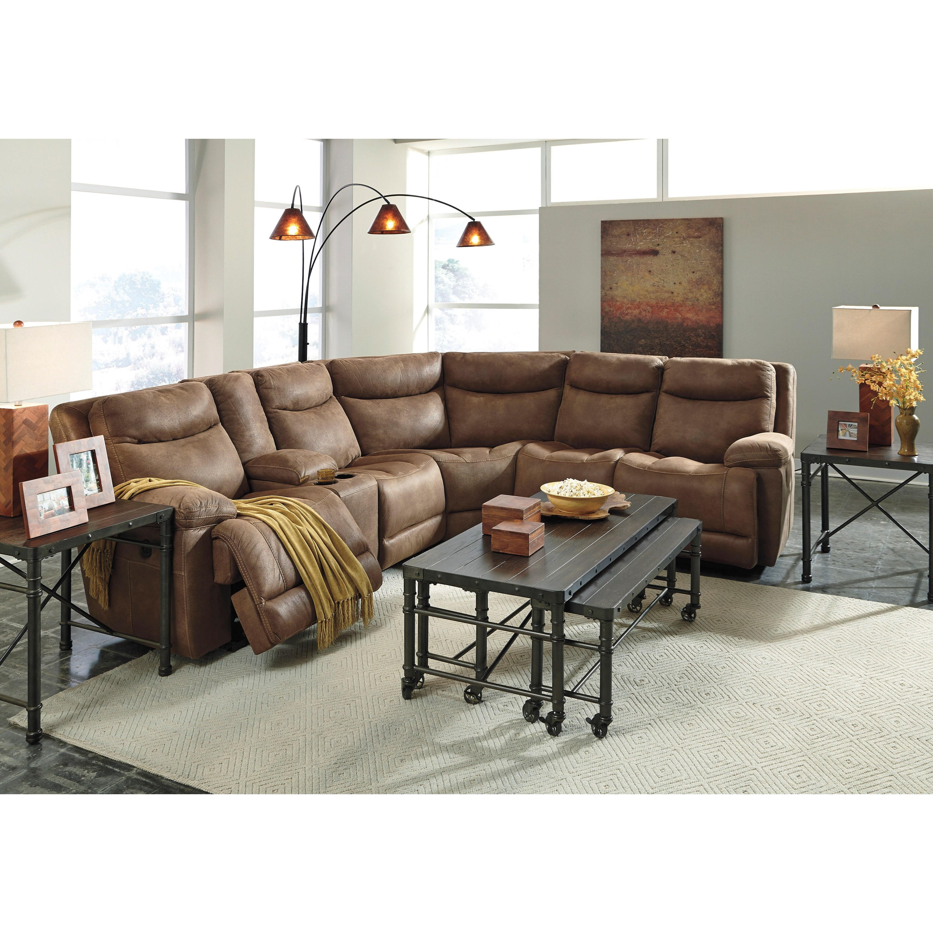 austere brown power reclining sofa from ashley colem