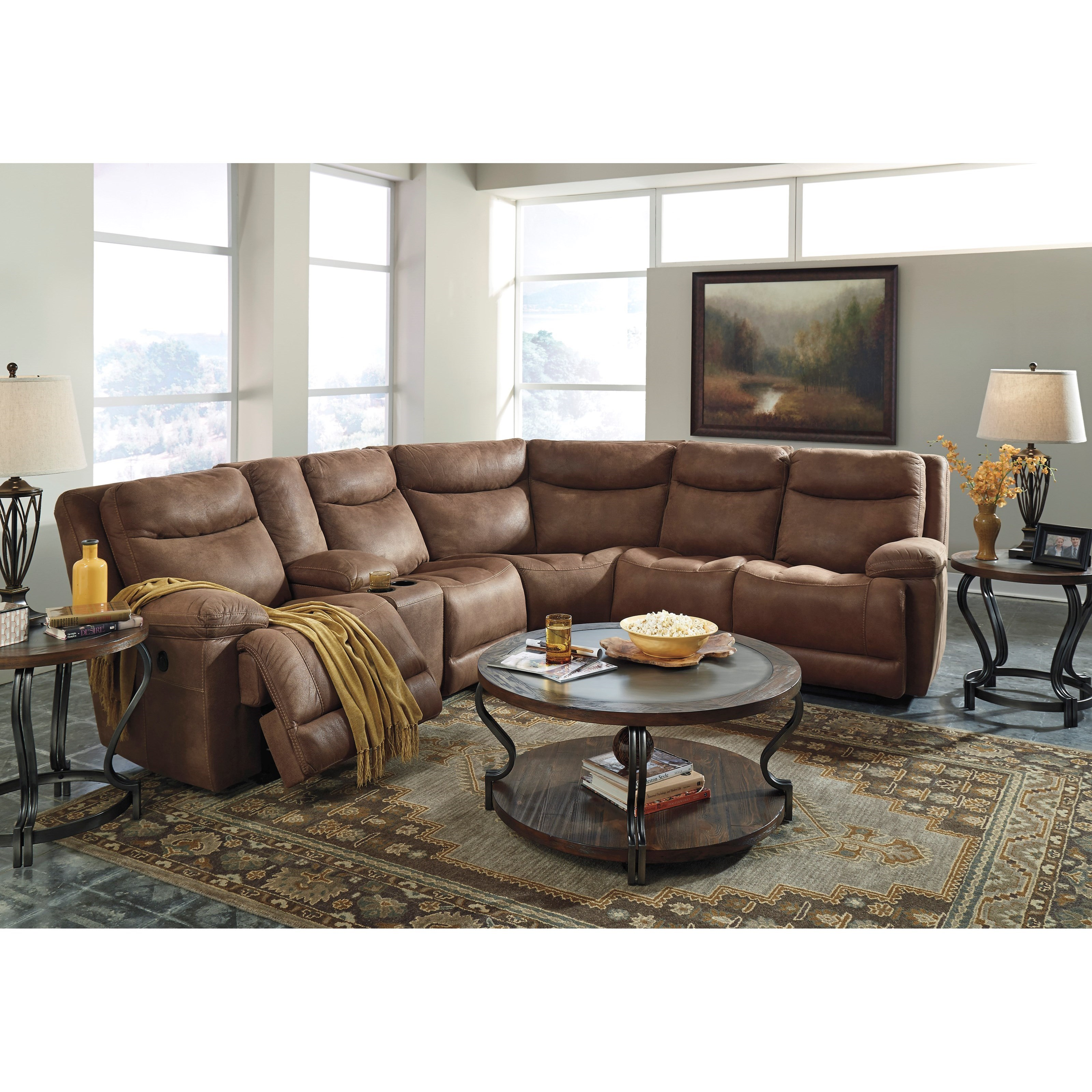 Power Reclining Sectional W/ Storage Console
