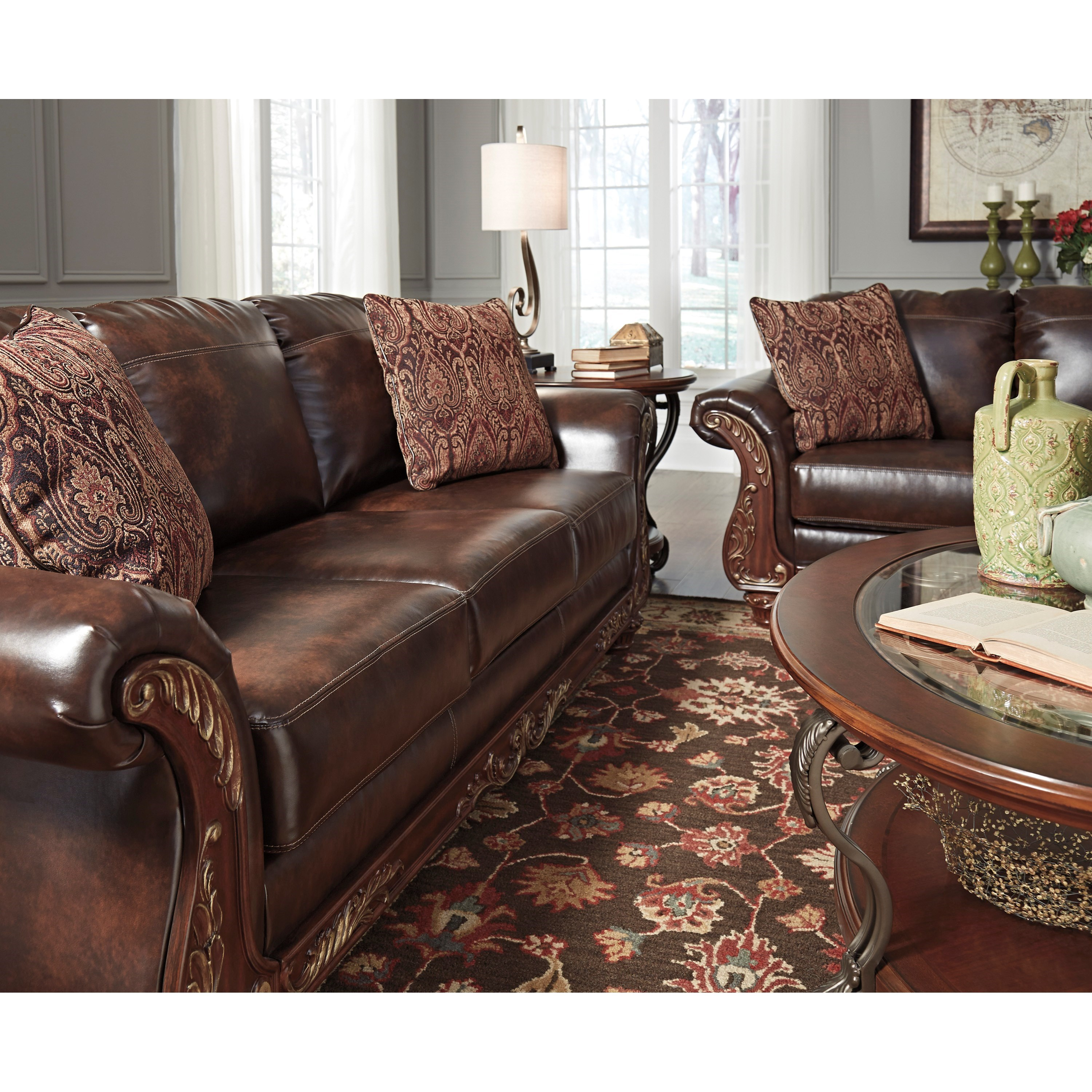 traditional faux leather sofa with wood trim u0026 rolled arms