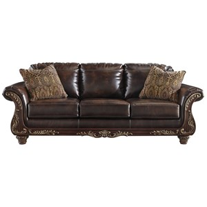 Traditional Faux Leather Sofa with Wood Trim & Rolled Arms