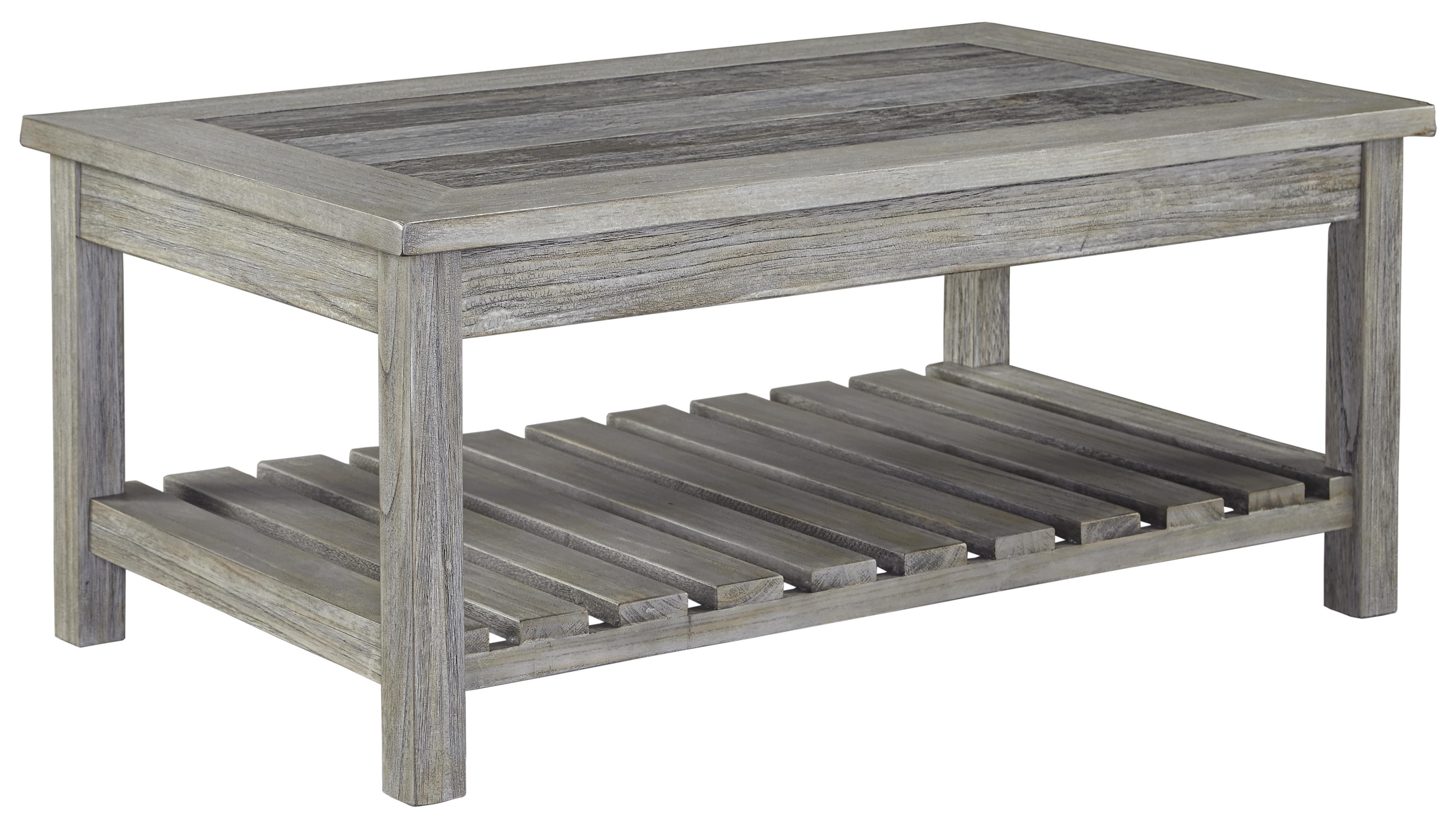 Rectangular Cocktail Table With Ceramic Tile Top And Slat Shelf By