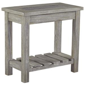 Chair Side End Table with Ceramic Tile Top and Slat Shelf