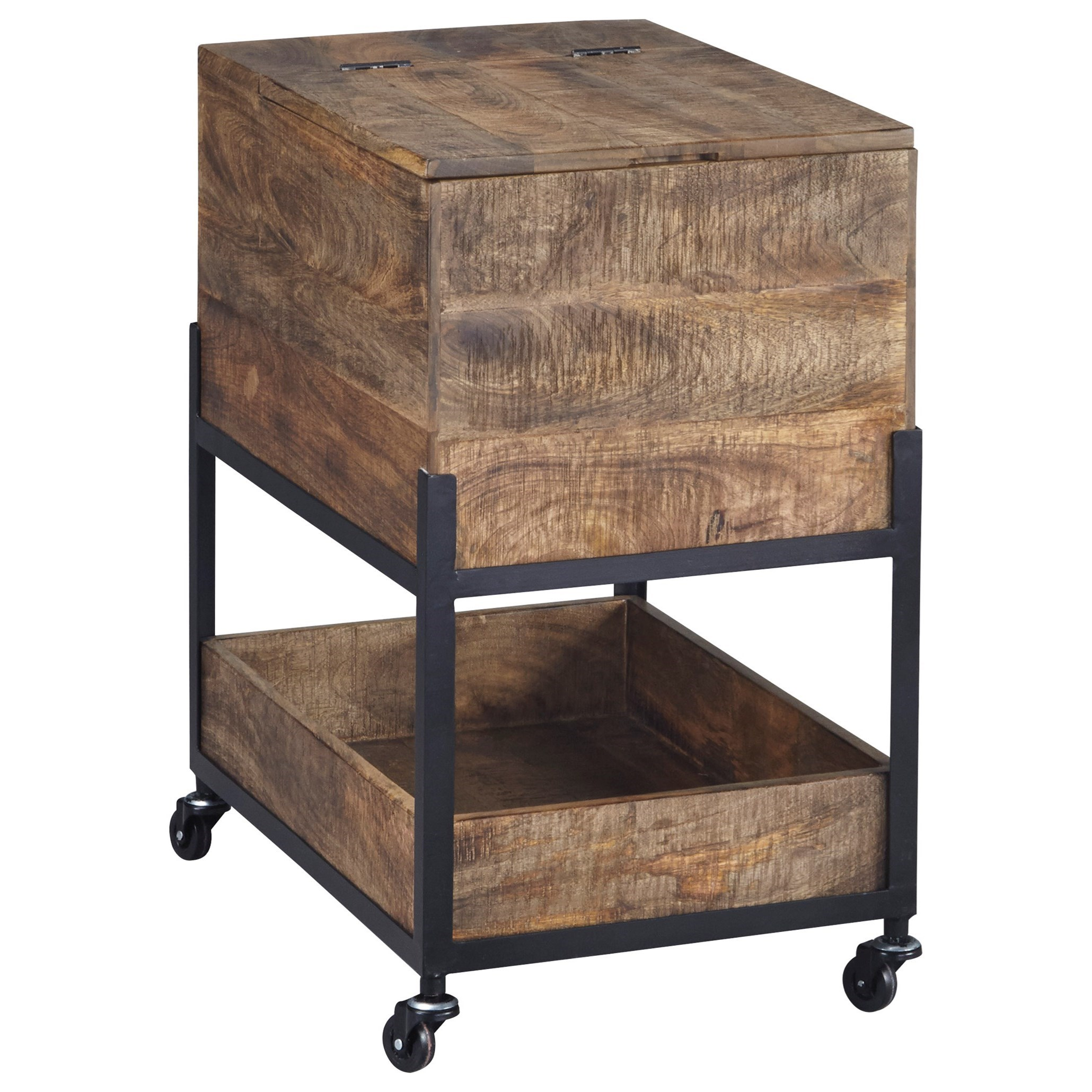 Incroyable Mango Wood/Metal File Cabinet With Casters U0026 Hinged Top