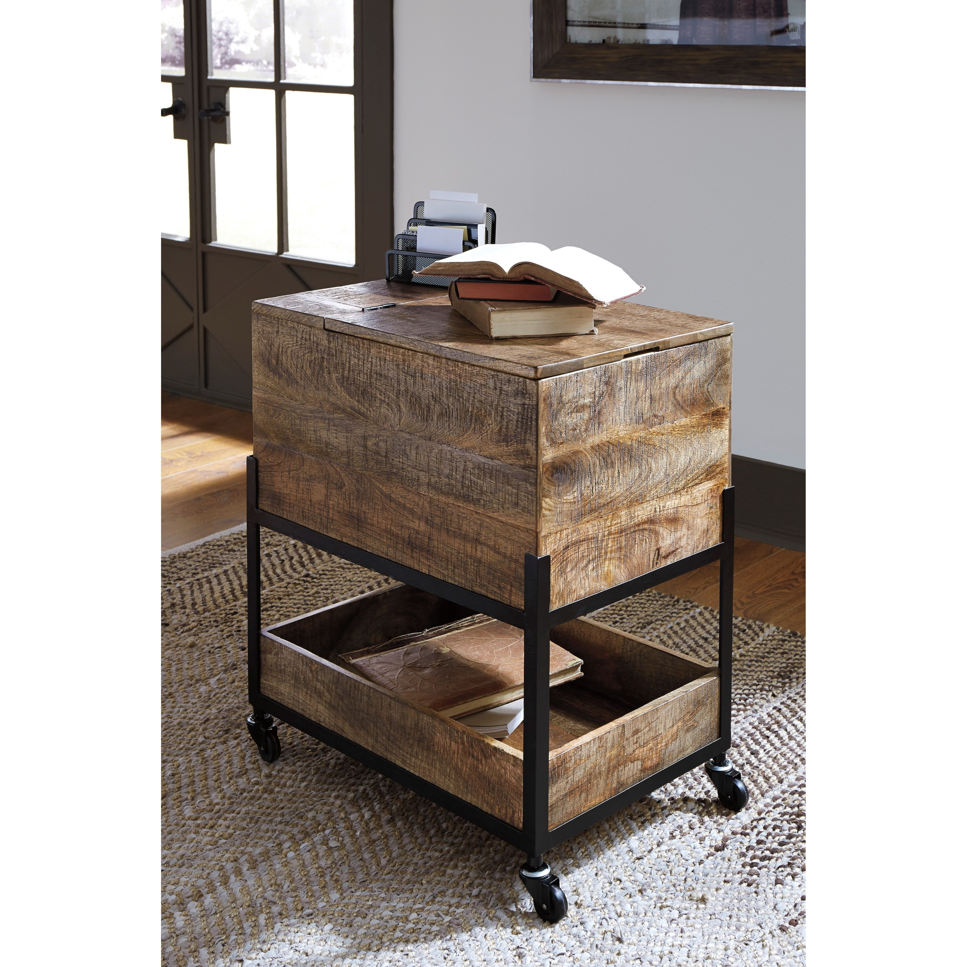 Mango Wood/Metal File Cabinet With Casters U0026 Hinged Top