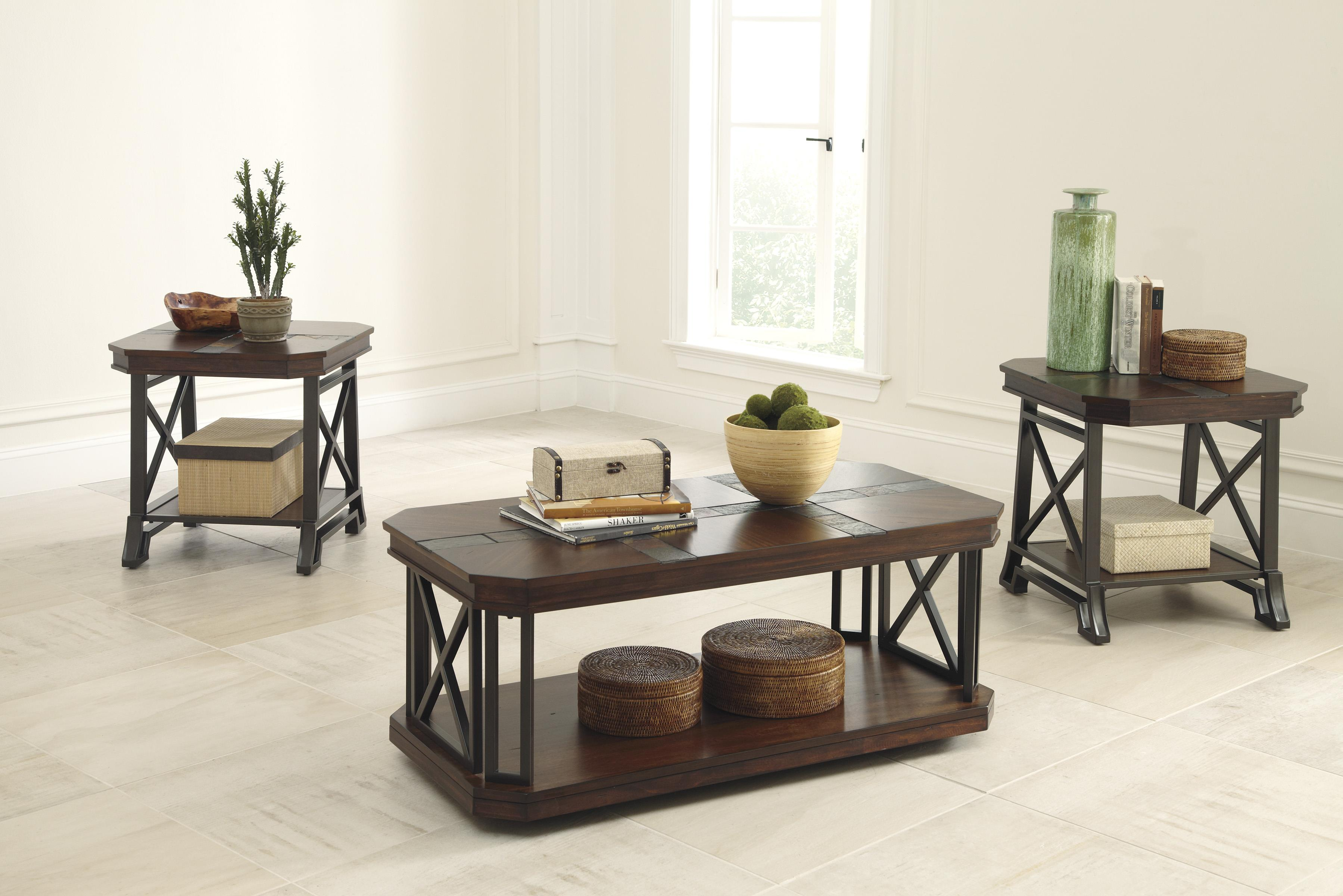 Vintage Casual Occasional Table Set with Slate Tile Inlay by