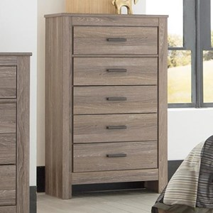 Five Drawer Chest in Gray Finish