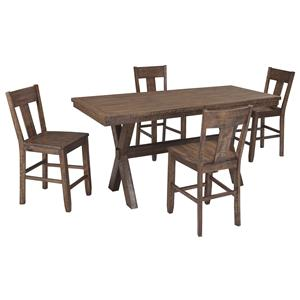 Signature Design by Ashley Walnord 5-Piece Counter Table Set