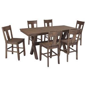 Signature Design by Ashley Walnord 7-Piece Counter Table Set
