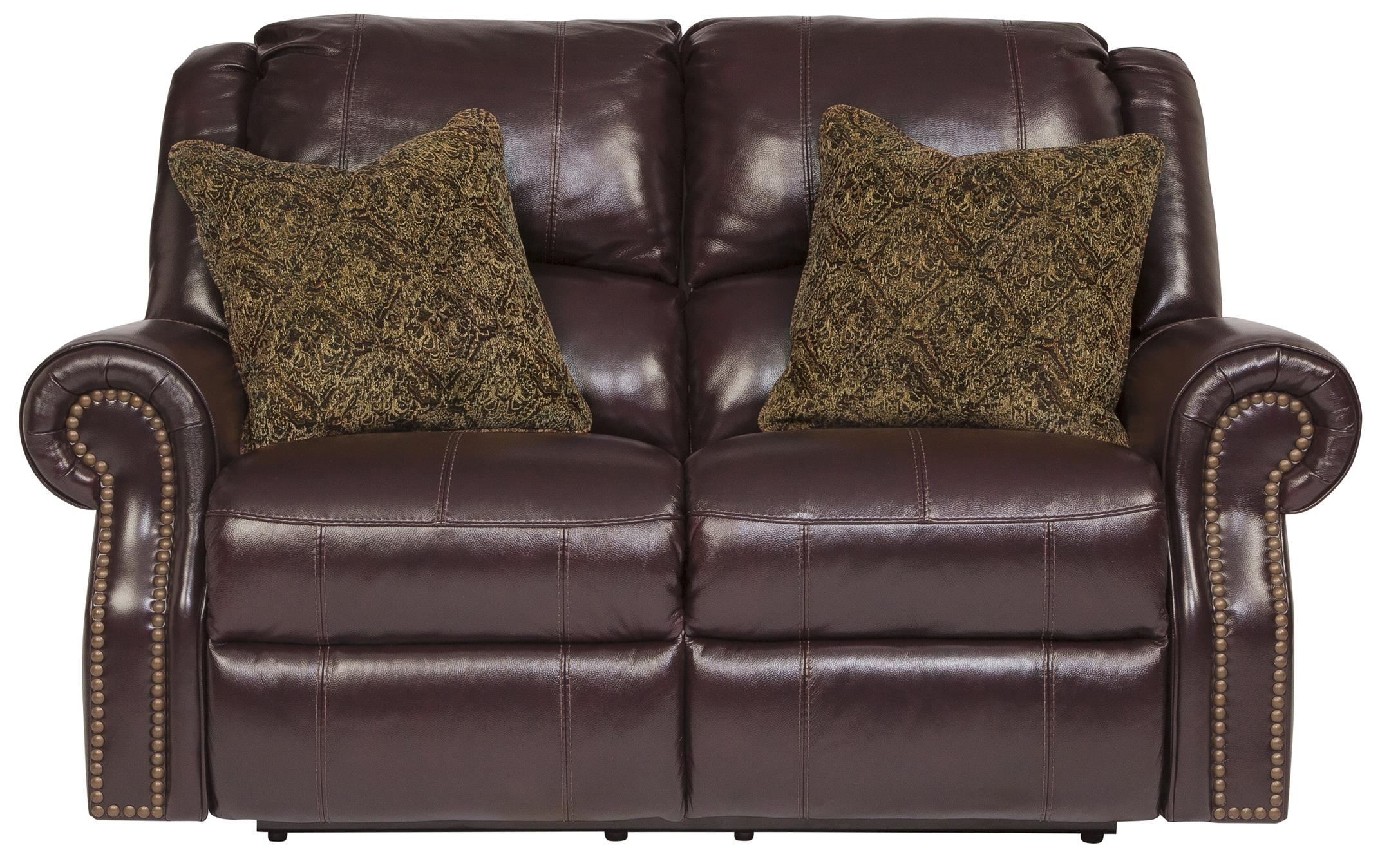Top Grain Leather Match Reclining Power Loveseat with Nailhead