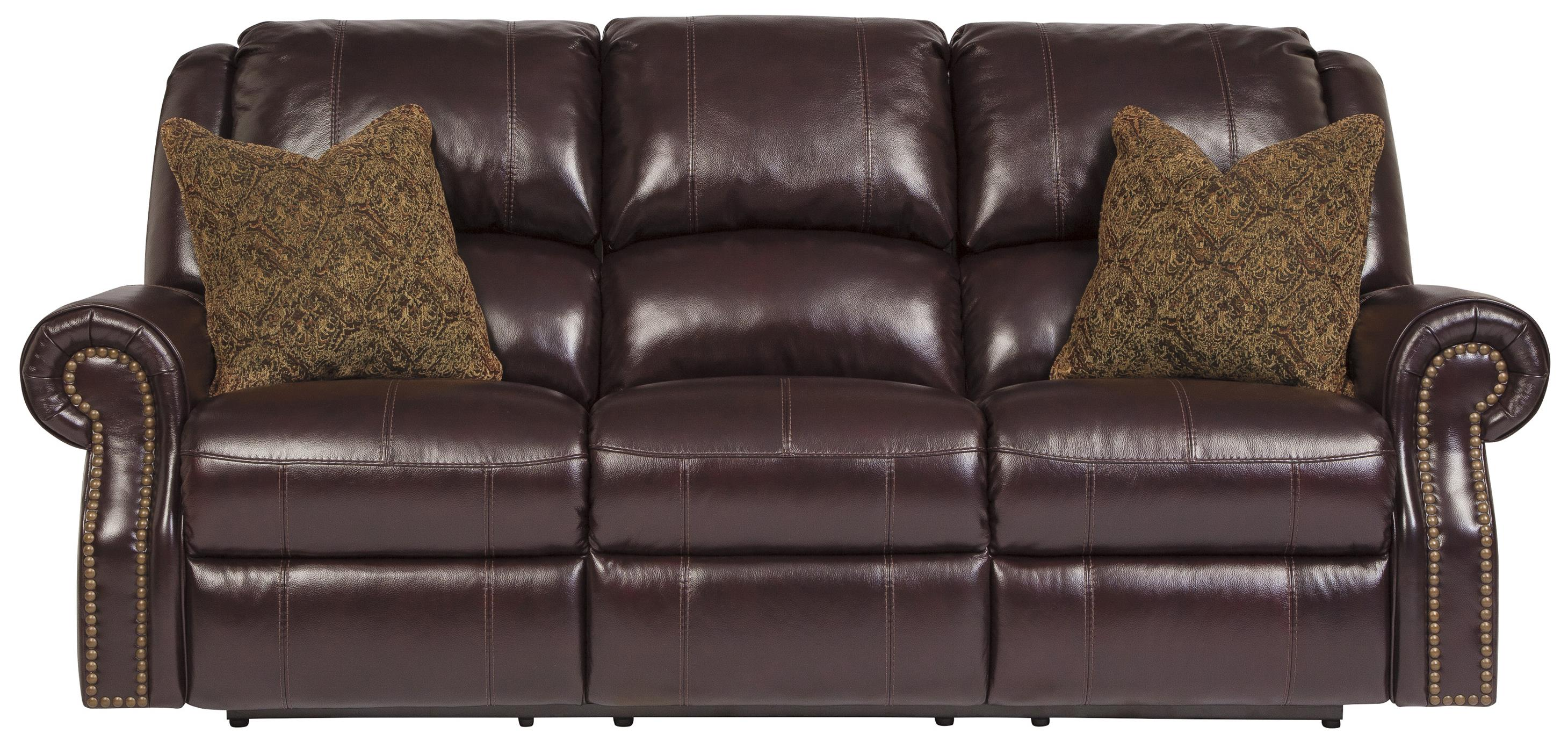 Top Grain Leather Match Reclining Power Sofa with Nailhead Trim by