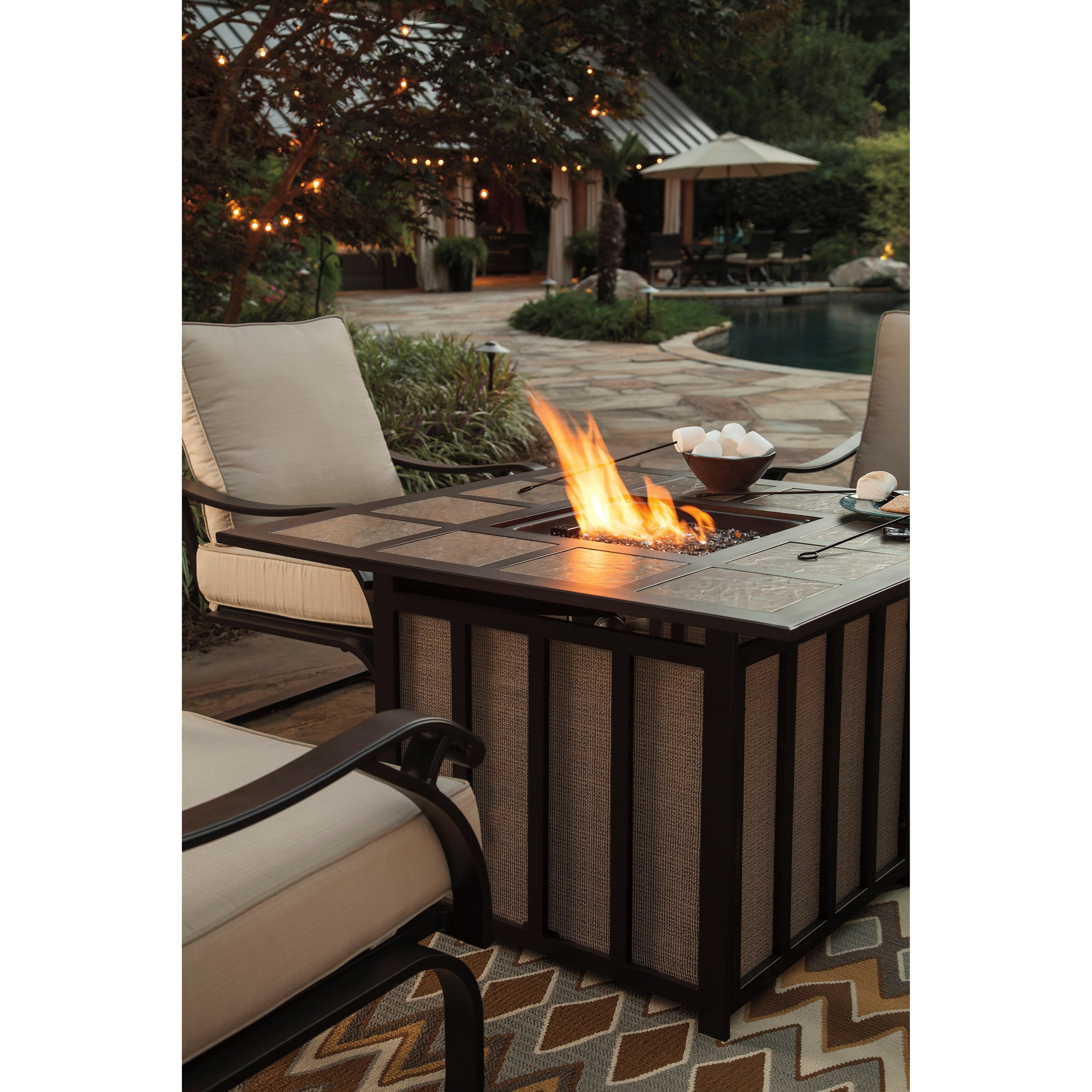 outdoor 5 piece fire pit table set by signature design by ashley