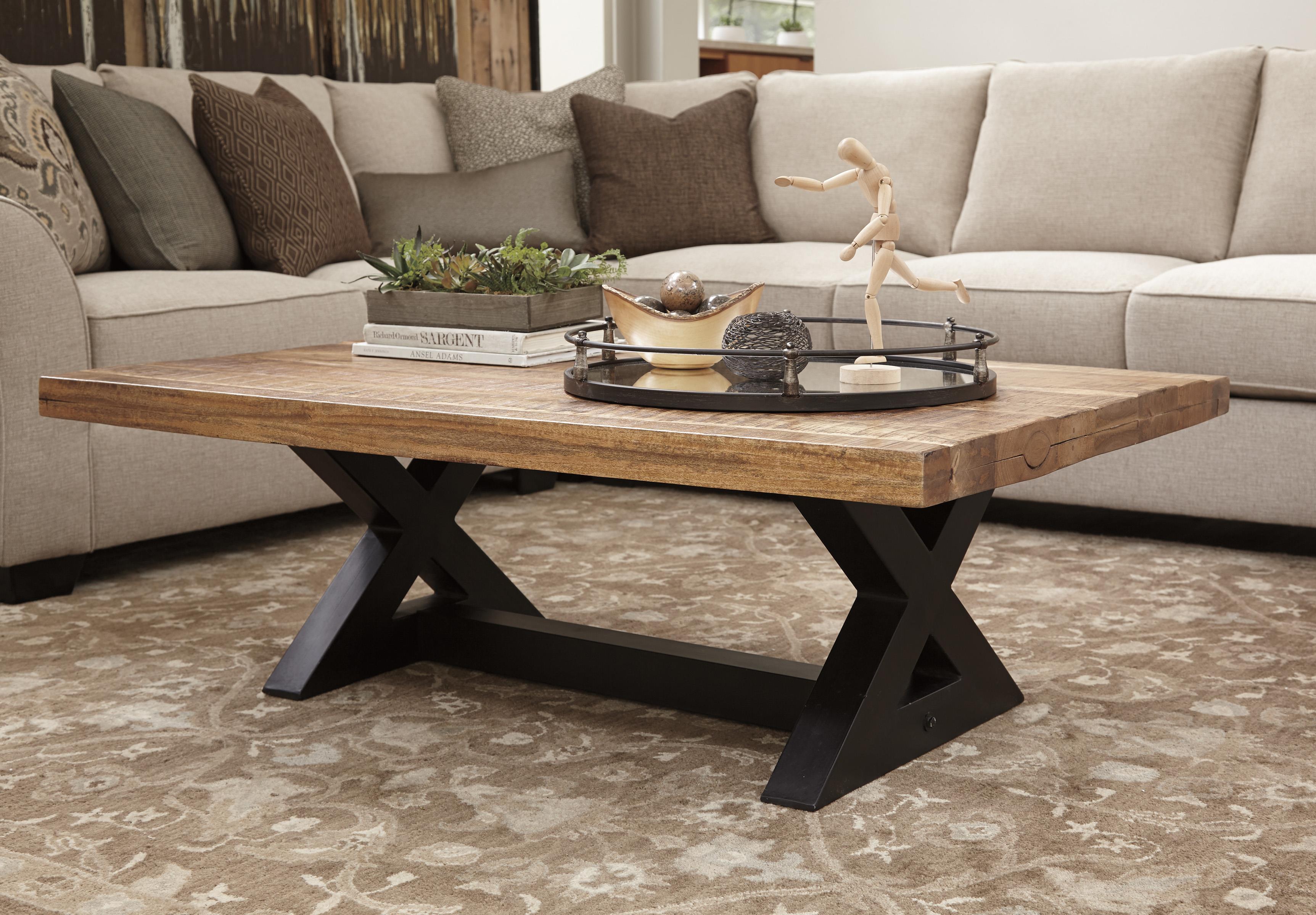 Rectangular Cocktail Table with Mango Wood Top & Metal X