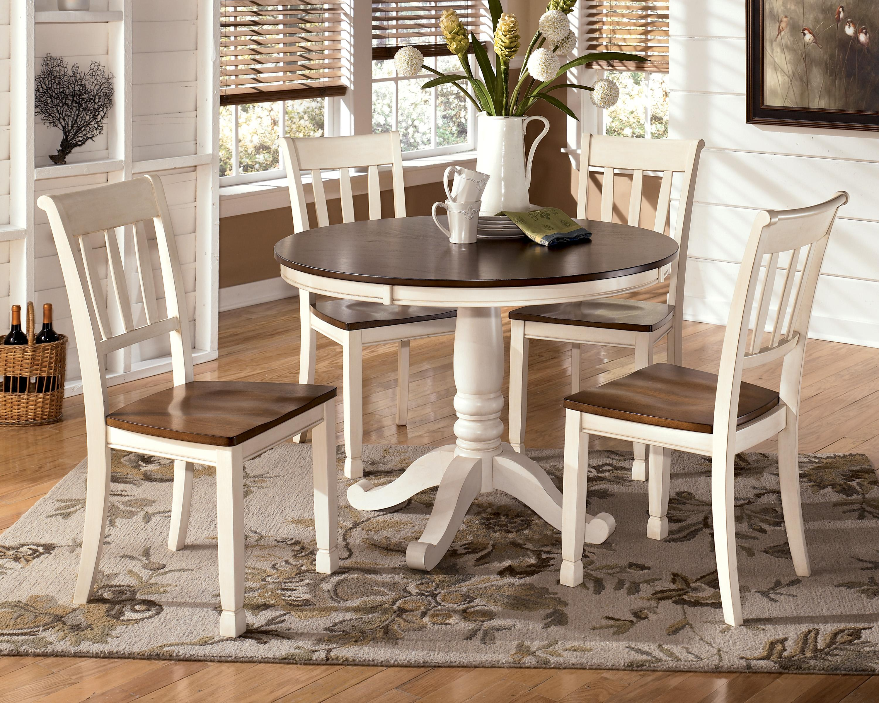 Two Tone Cottage Round Table and 4 Side Chairs by Signature Design