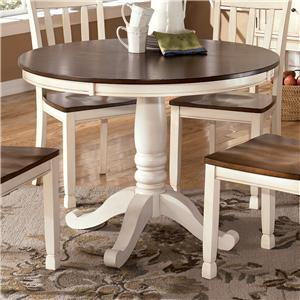 Two-Tone Round Table with Pedestal Base