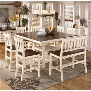 Signature Design by Ashley Whitesburg 8-Piece Square Counter Extension Table Set