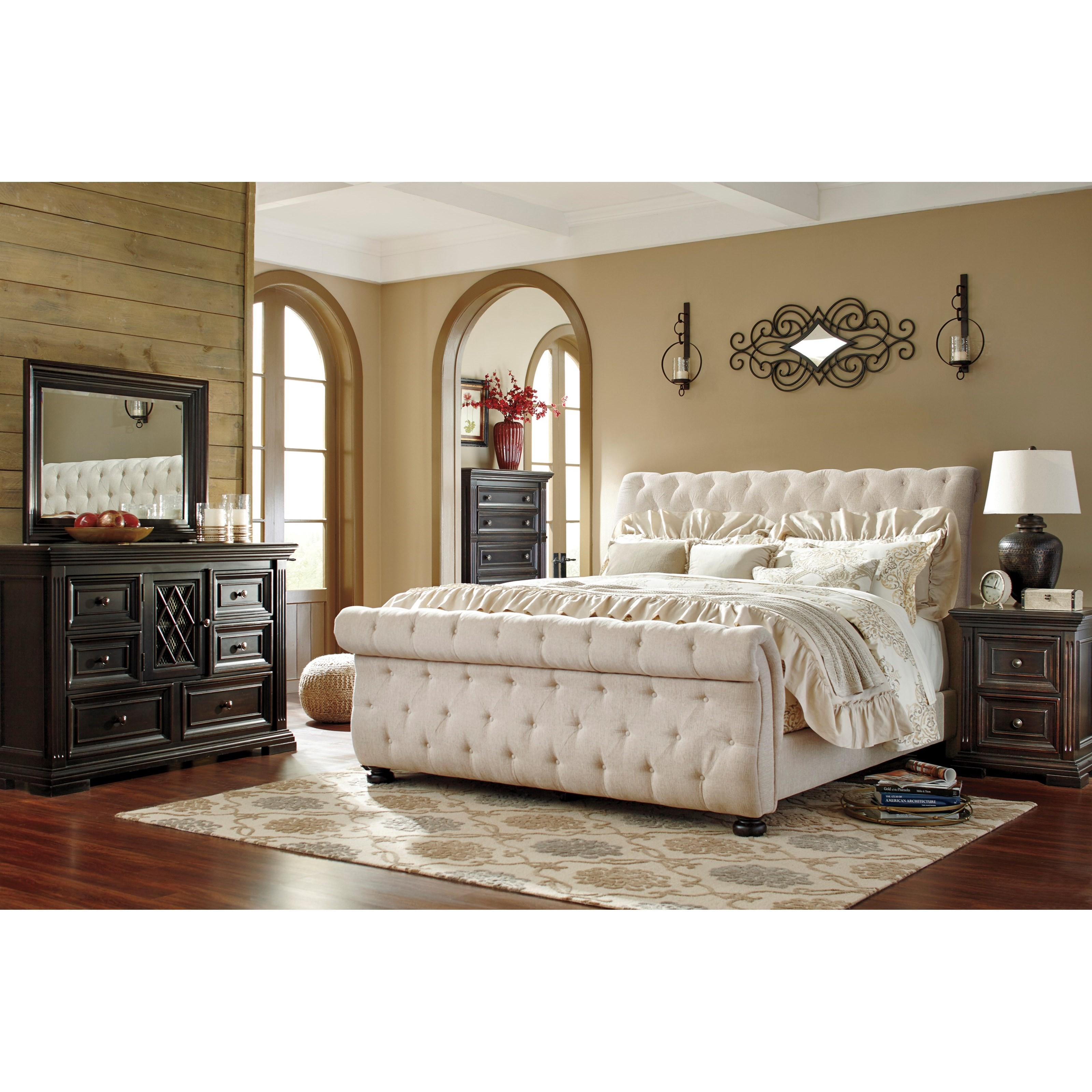 Tufted sleigh bed king - California King Upholstered Sleigh Bed