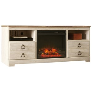 Two Tone Large TV Stand With Fireplace Insert