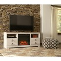 Large TV Stand with Fireplace Insert