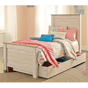 Two-Tone Twin Panel Bed with Under Bed Storage