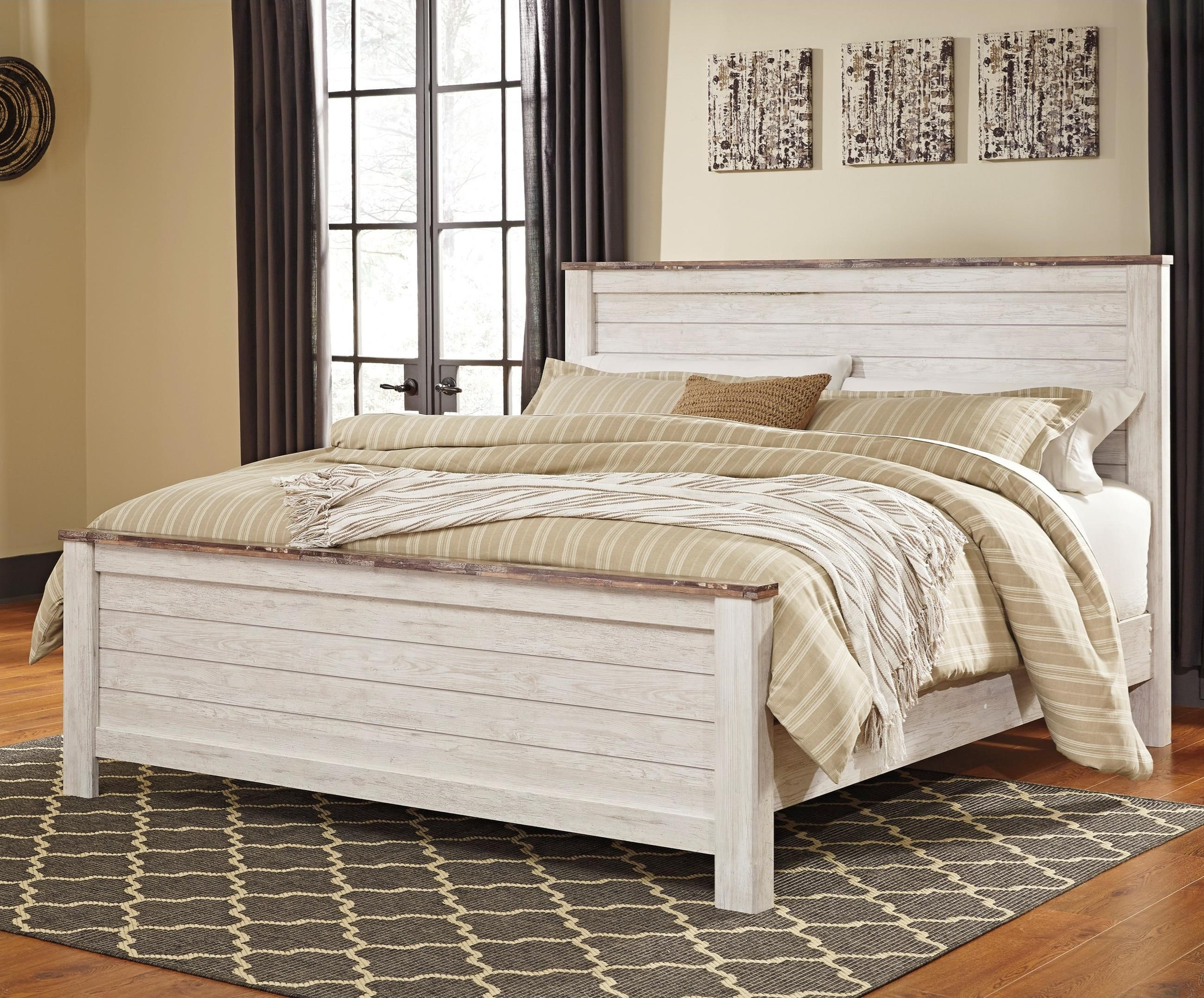 Two Tone California King Panel Bed In Washed Finish With