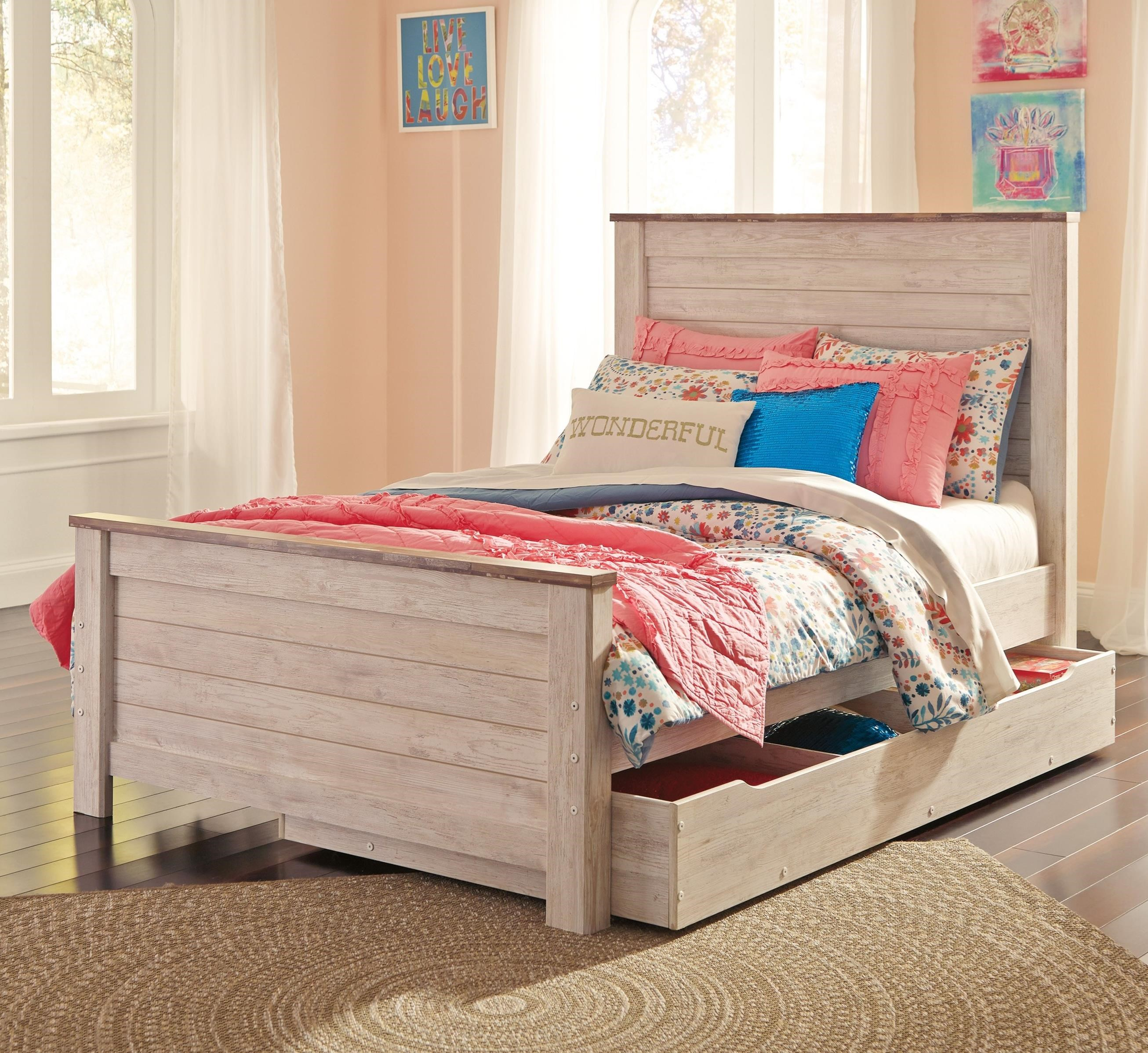 Two-Tone Full Panel Bed with Under Bed Storage