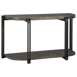 Wood & Metal Half-Oval Sofa Table