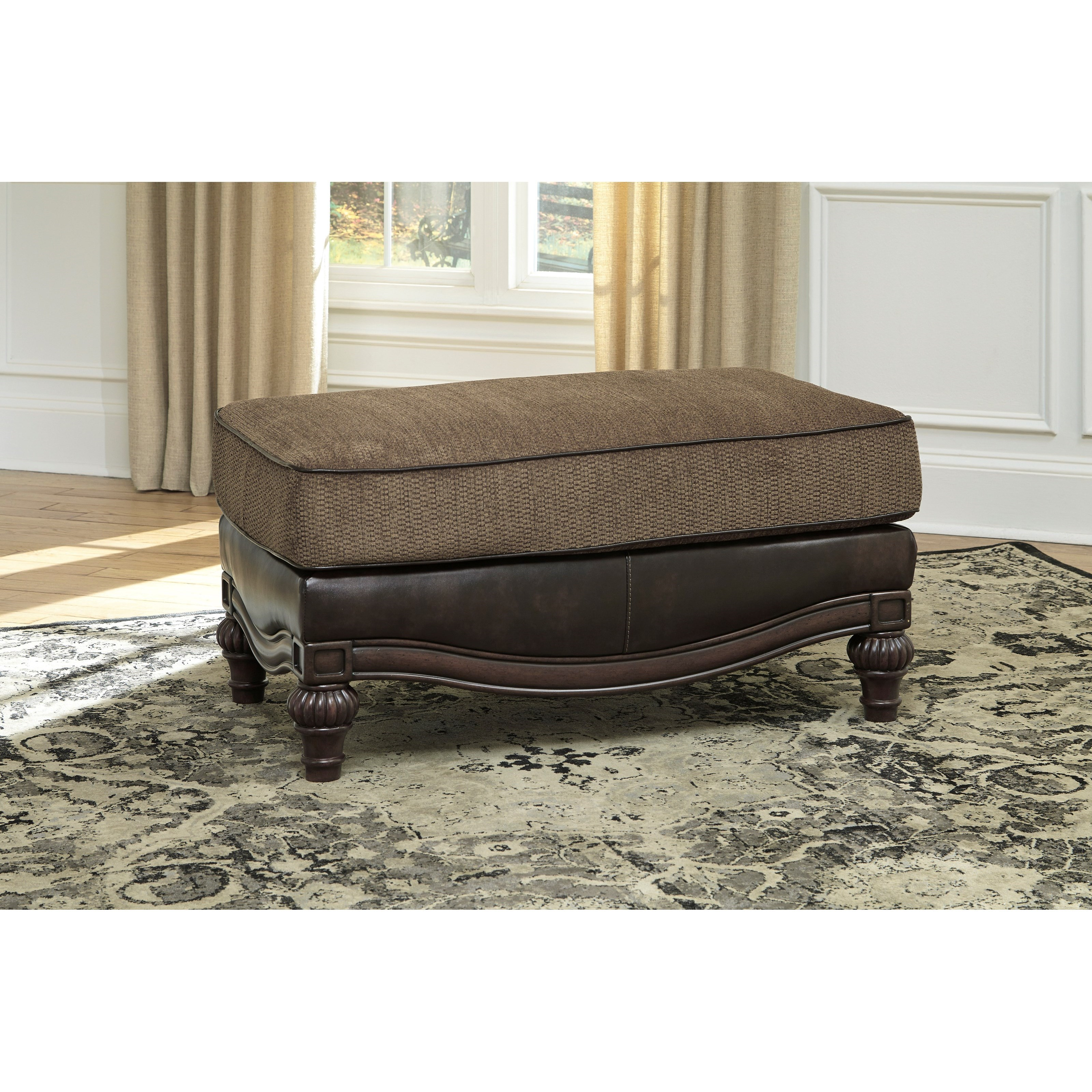 Traditional Chair and a Half & Ottoman by Signature Design by