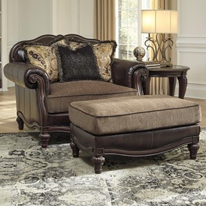 Traditional Chair and a Half & Ottoman