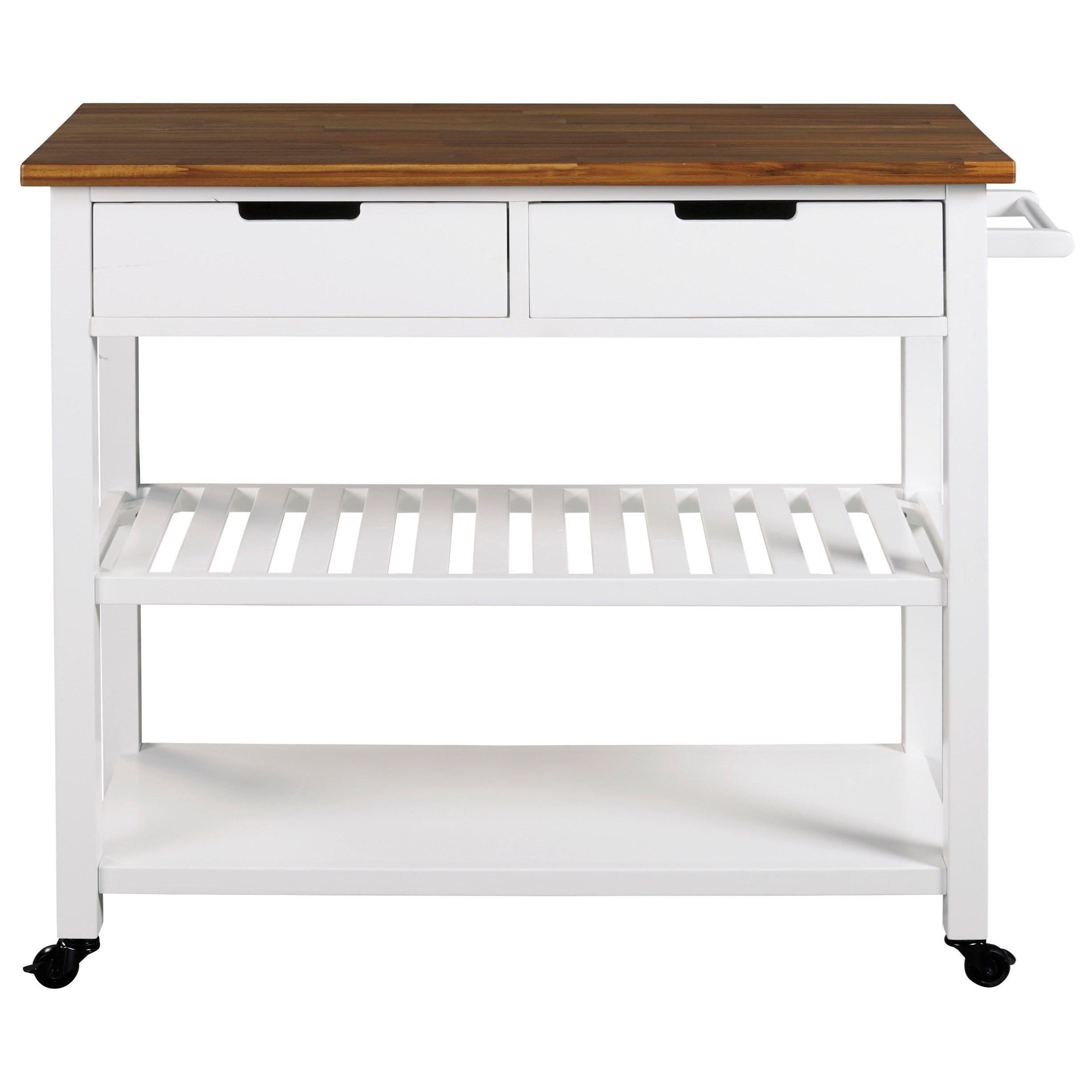 Kitchen Cart with Two-Tone Finish and Casters