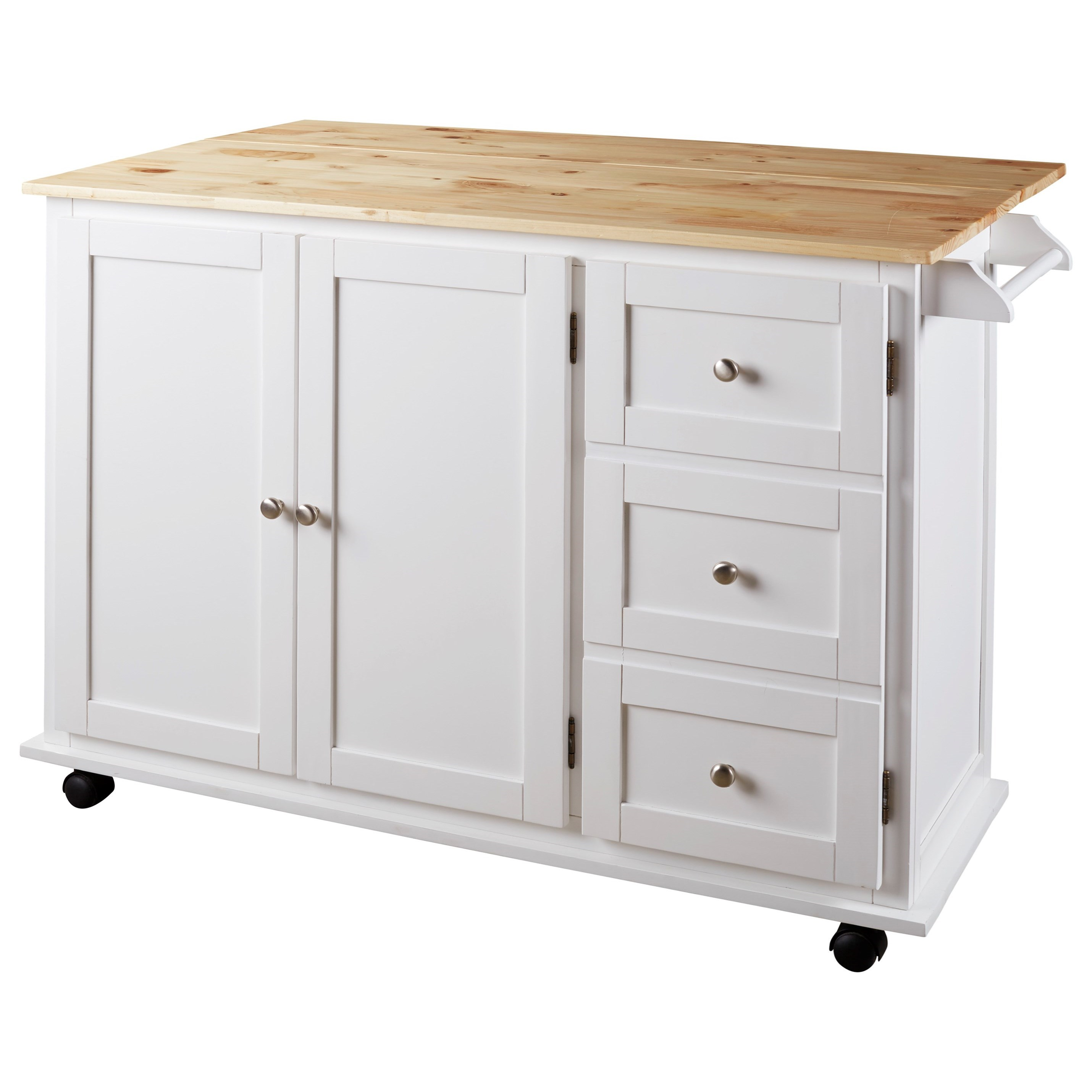 Two-Tone Kitchen Cart with Casters and Drop Leaf