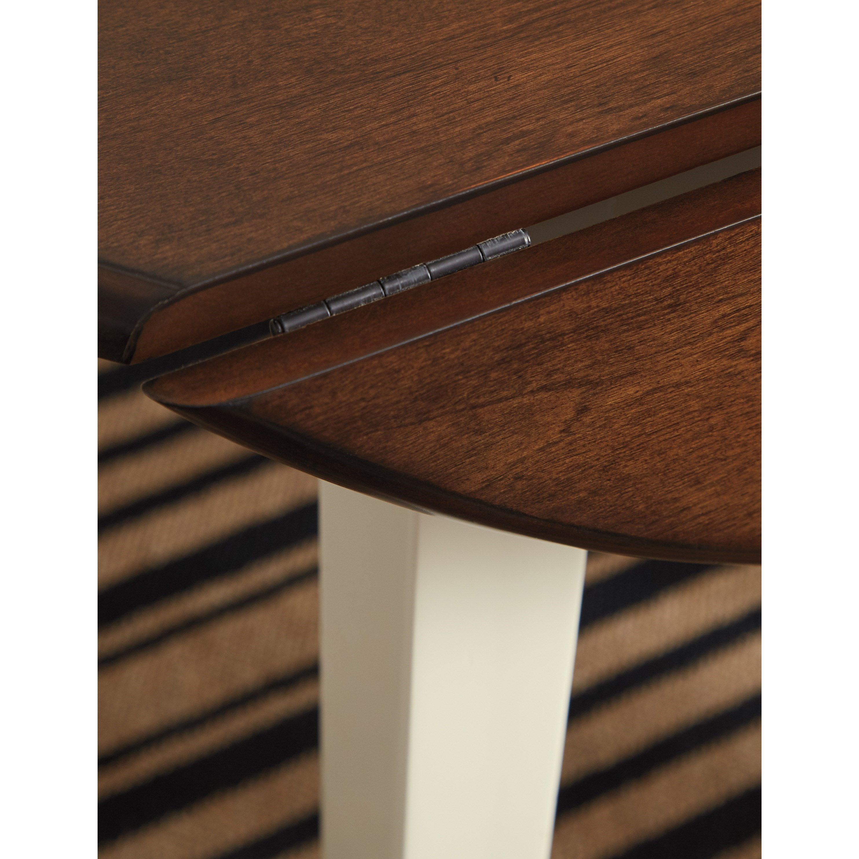 Ashley Furniture Danville Va: Two-Tone Finish Round Dining Room Drop Leaf Table By
