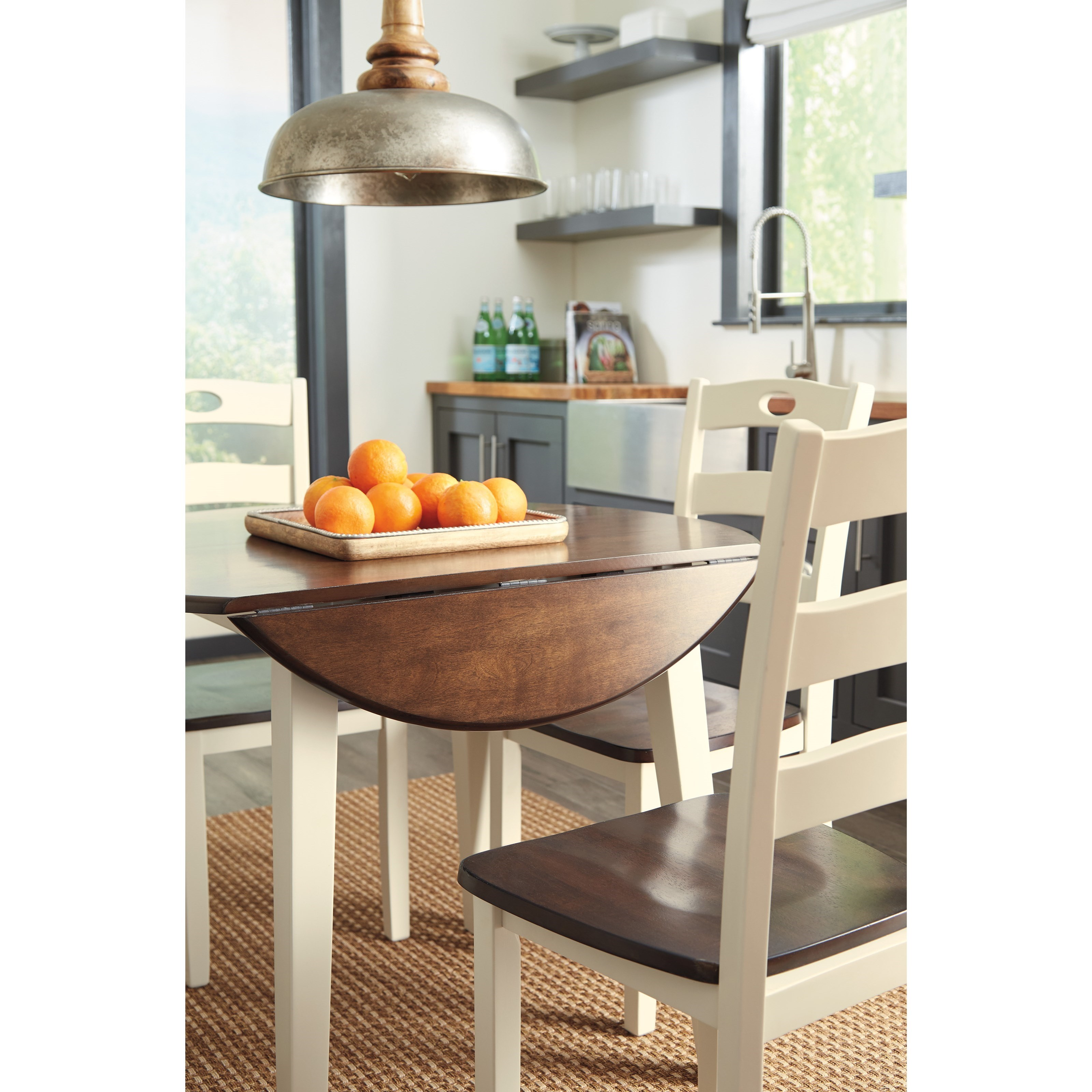 Round Kitchen Table With Leaf: Two-Tone Finish Round Dining Room Drop Leaf Table By