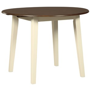 Two-Tone Finish Round Dining Room Drop Leaf Table