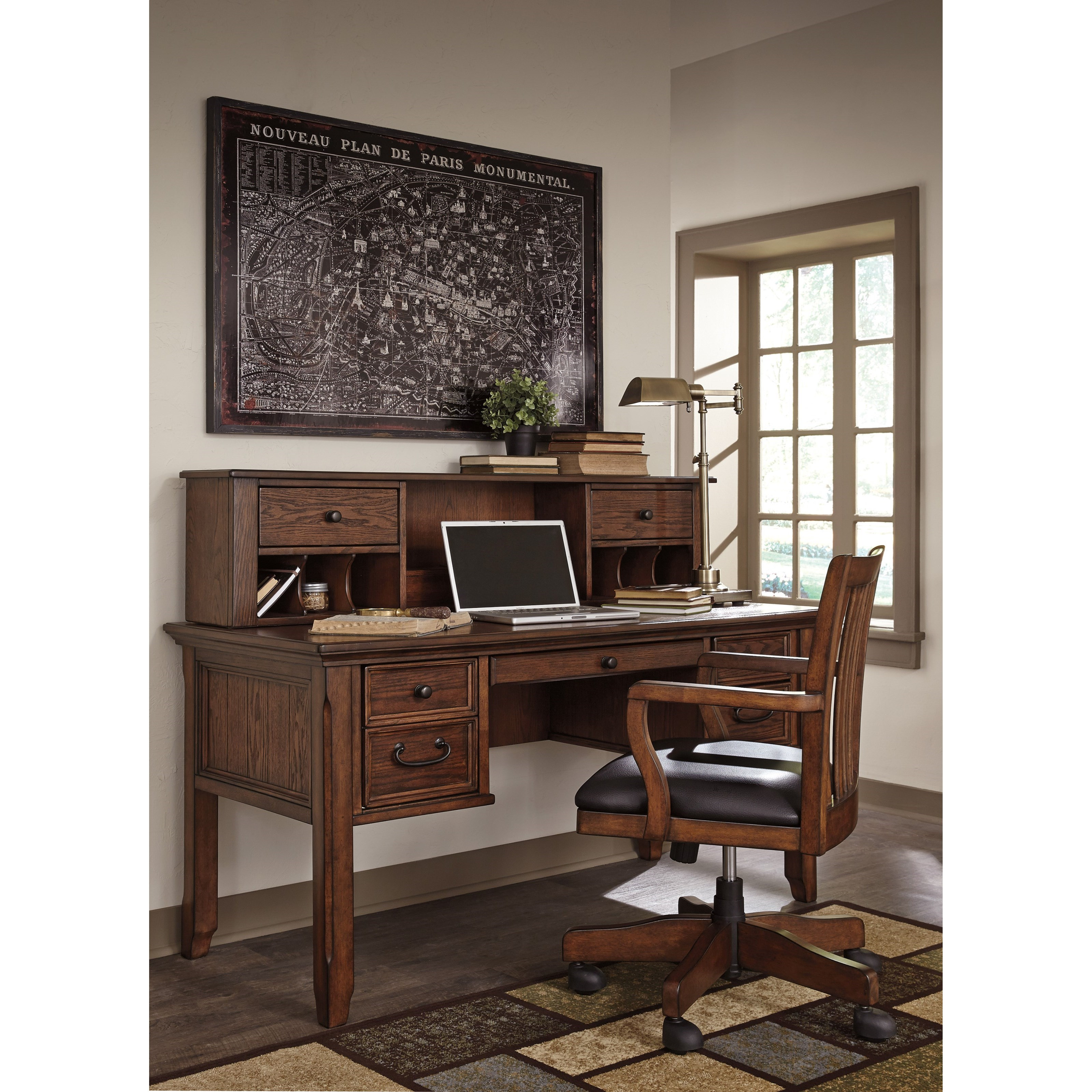 Home fice Swivel Desk Chair with Slat Back by Signature Design