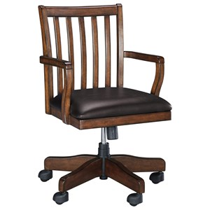 Home Office Swivel Desk Chair with Slat Back