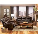 Signature Design by Ashley Furniture Woodsdale DuraBlend® - Antique Reclining Sofa with Divided Back - Shown with Loveseat