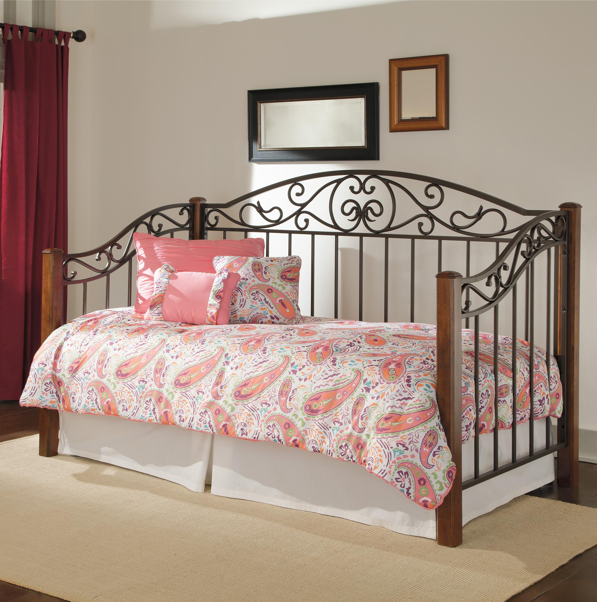 metal and wood day bed