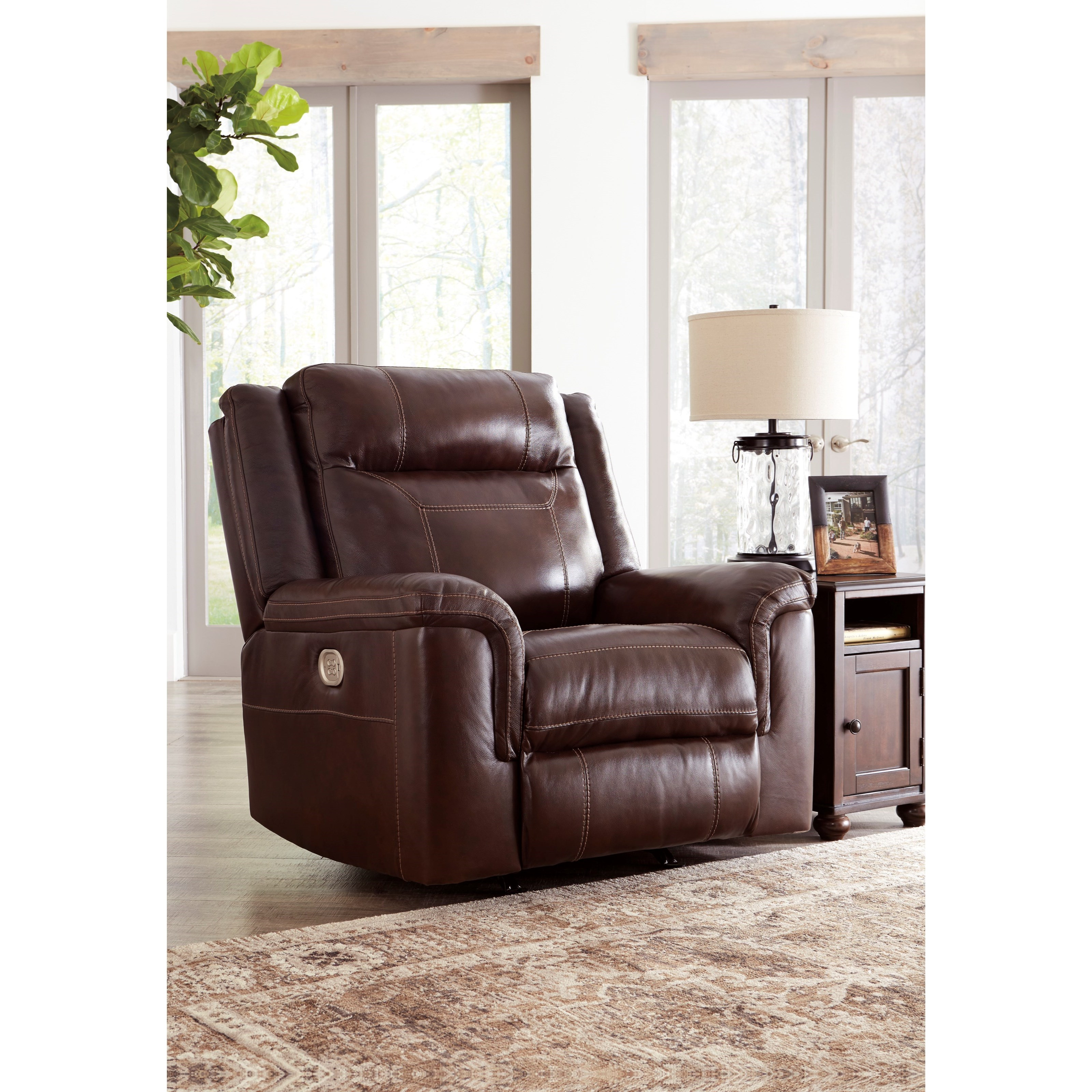 Power Rocker Recliner With Adjustable Headrest By