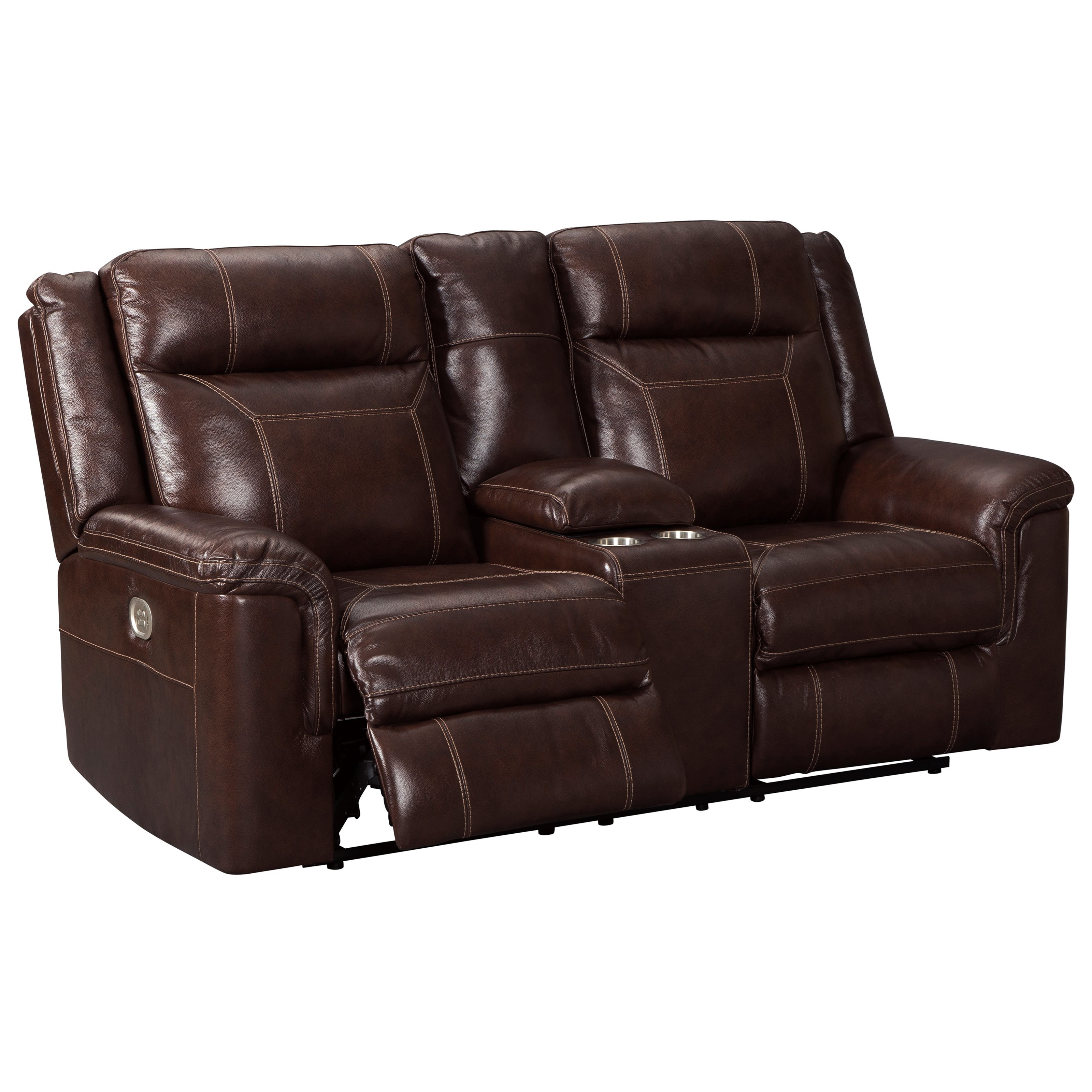 Power Reclining Loveseat With Adjustable Headrest And