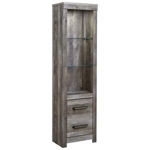 Pier with Glass Shelves & Built-In Light in Rustic Gray Finish