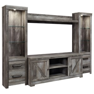 Wall Unit with 2 Piers in Rustic Gray Finish