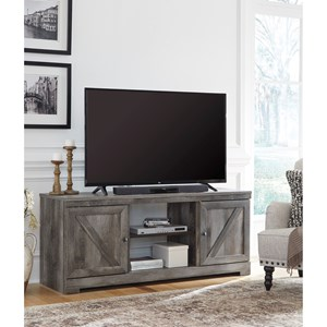 Large TV Stand in Rustic Gray Finish