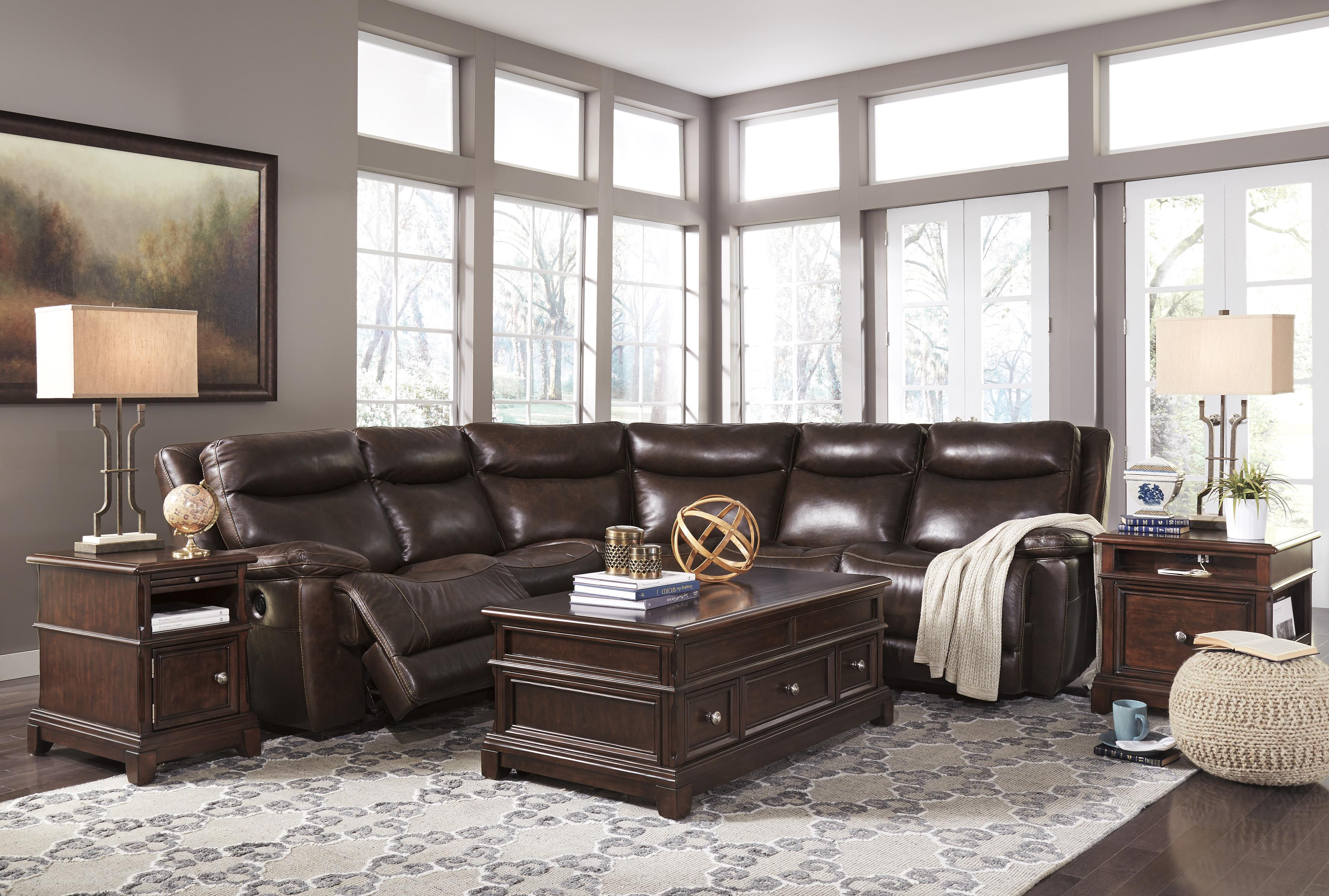 Contemporary Leather Match Reclining Sectional By