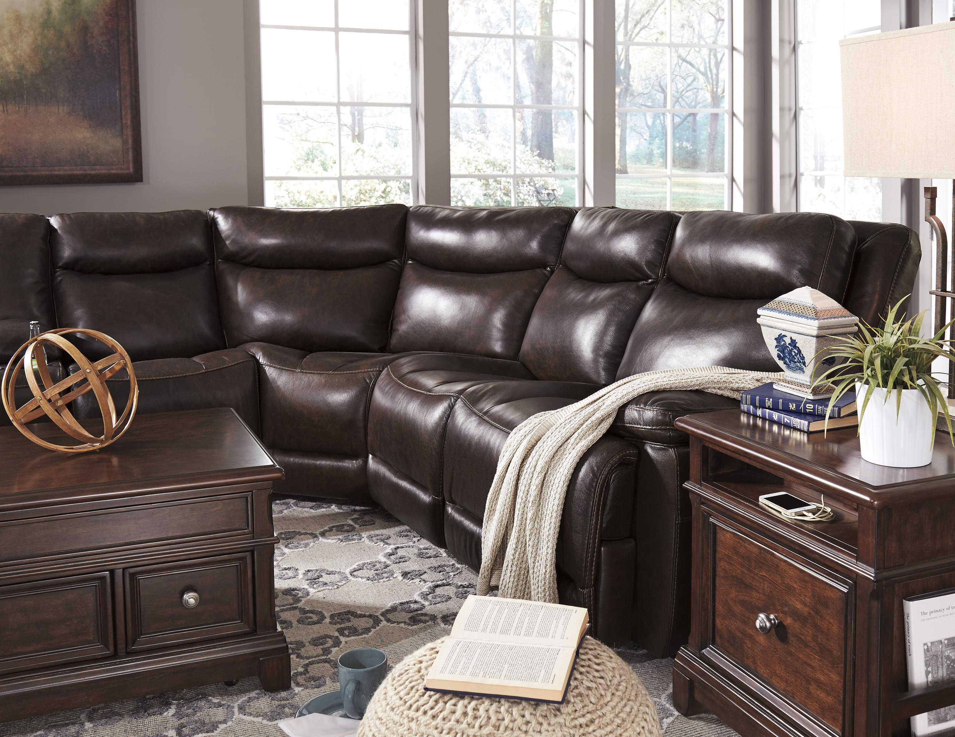 Contemporary Leather Match Power Reclining Sectional with Console