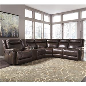 Contemporary Leather Match Power Reclining Sectional with Console : shop sectionals - Sectionals, Sofas & Couches
