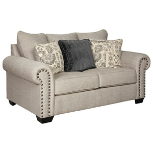 Transitional Loveseat with Nailhead Trim