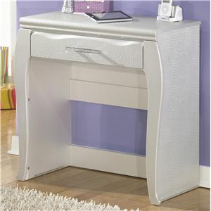 Silver Pearl Faux Gator Desk/Vanity with 1 Drawer